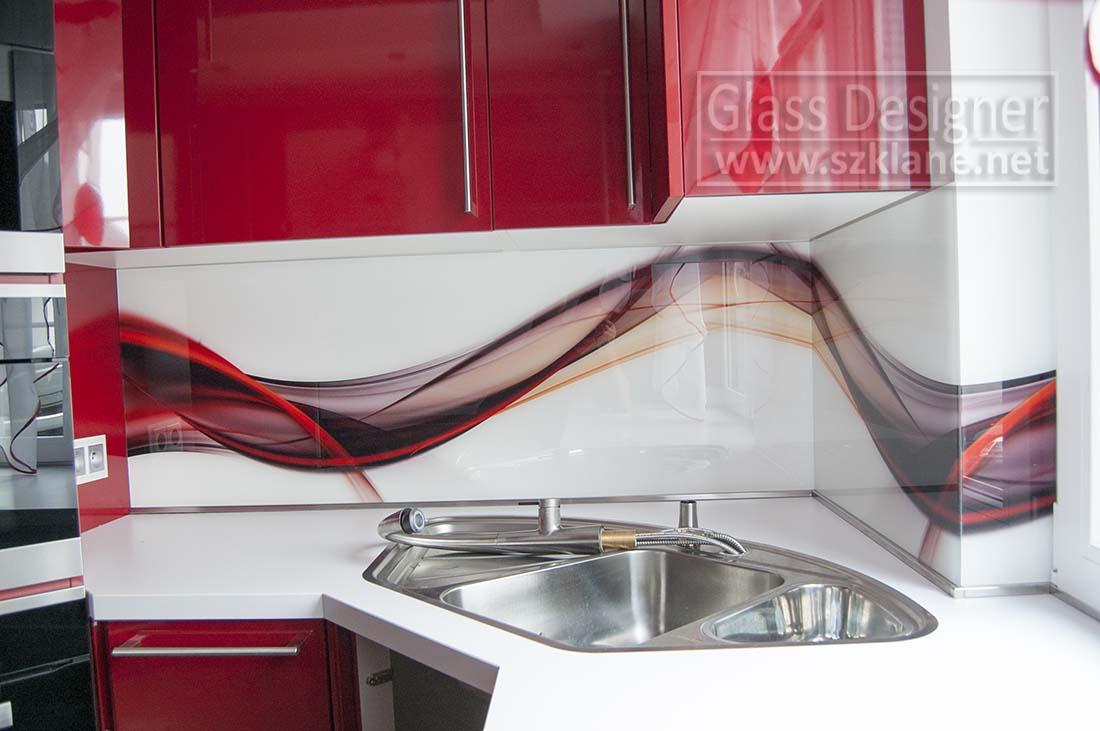 czerwona kuchnia z grafiką