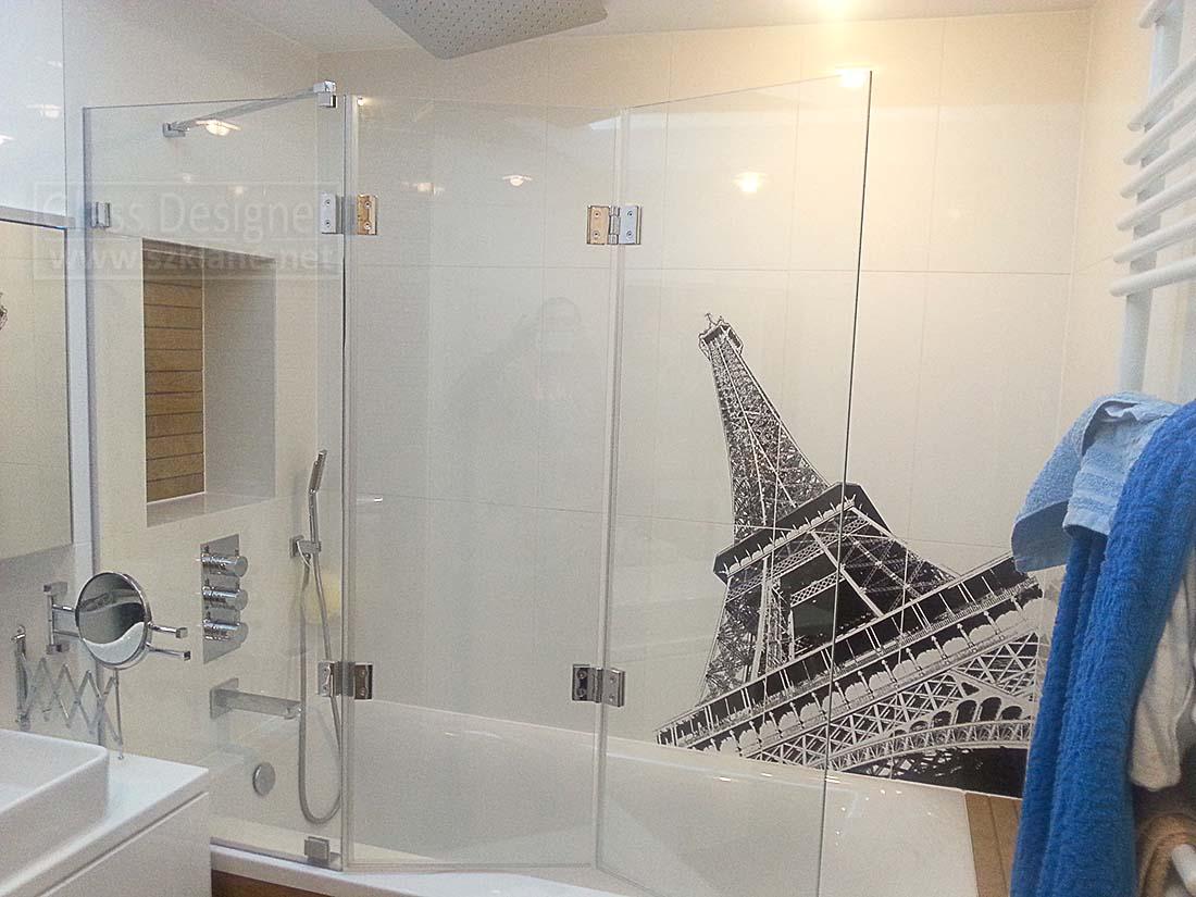 parawan składany szklany biała łazienka; wieża ajfla paryż