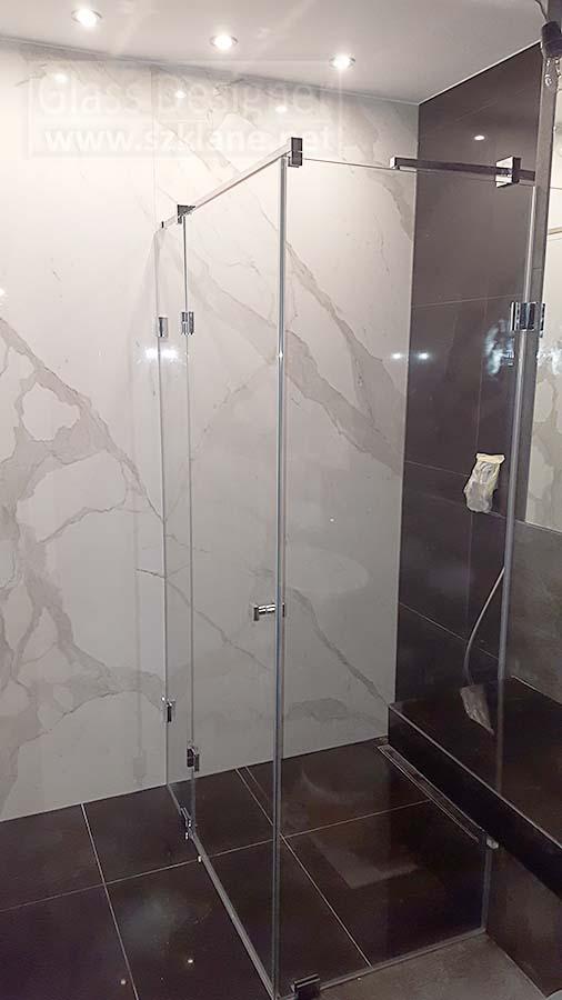 szklane kabiny Wrocław; brązowa terakota w łazience