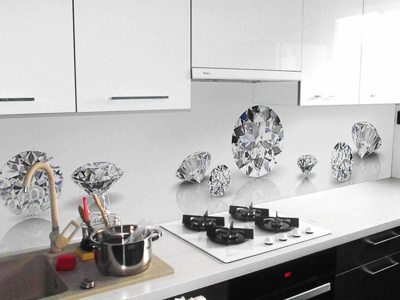 diamenty w kuchni; biała czarna kuchnia