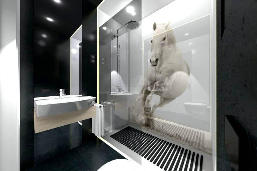 koń w łazience; nowoczesny prysznic; czarne duże kafle