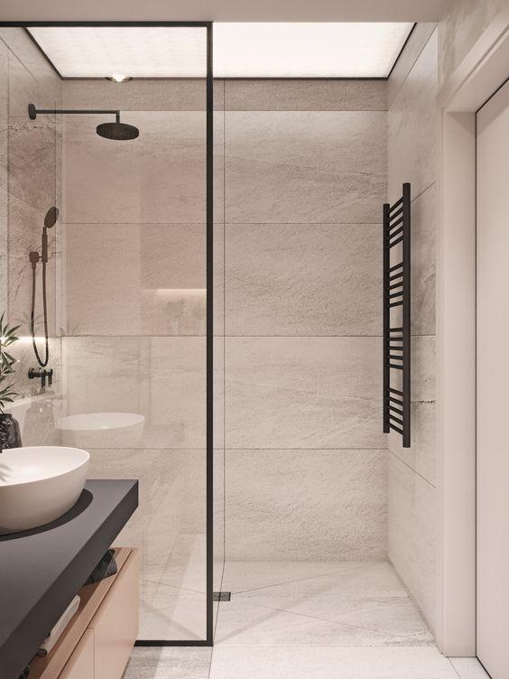 Kabiny Prysznicowe Z Czarnym Profilem