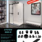 czarny system przesuwny do kabin prysznicowych