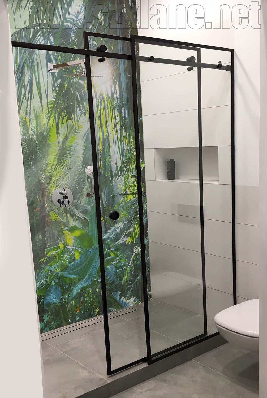 czarny system przesuwny; dżungla panel szklany