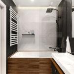 czarno biała łazienka drewniane wstawki
