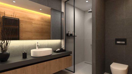 Nowoczesna łazienka beżowe i brązowe kafle z podświtleniem led pod lustrem