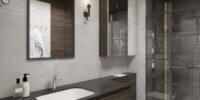 Nowoczesna łazienka beż brąz czarny blat