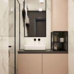 Różowe kremowe fronty łazienka czarne profile