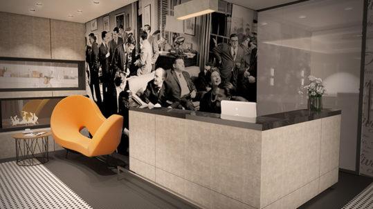 Fotografia z lat 70 czarnobiała nowoczesna recepcja; biały lacobel
