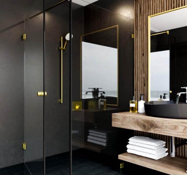 złote okucia w łazience